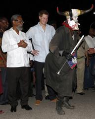 Britain's Prince Harry attends a street party in Belmopan, Belize