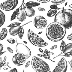Decorative seamless pattern with ink hand-drawn kumquats, grapefruit and citrus slices. Vector illustration.