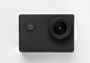 Action camera isolated on white background