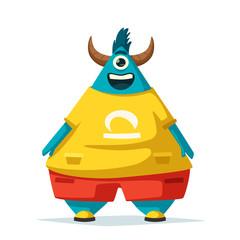 Funny monster. Cartoon vector illustration.