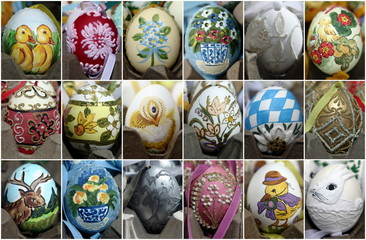 A combination picture shows handmade Easter eggs at an Easter market in Vienna