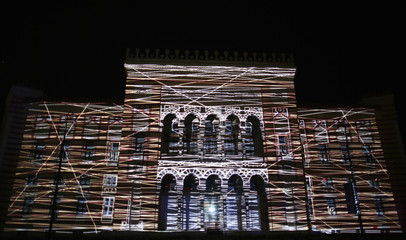 3D mapping projection are seen on facade of National Library during opening ceremony in Sarajevo