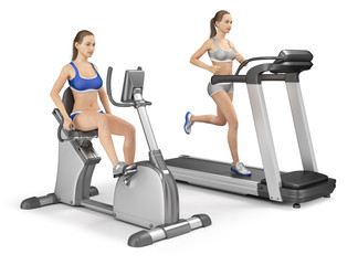 Girl on an exercise bike and a girl on a treadmill. Fitness. 3d image isolated on white.