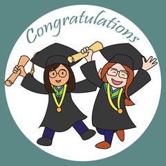 graduation events / happiness of graduation concept, vector illustration