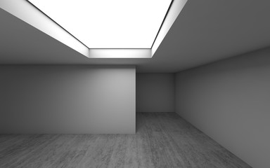 Empty room interior with ceiling light, 3 d