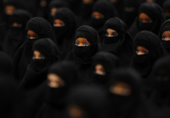 The installation 'Sheltered position' of German artist Sabine Reyer shows one hundred Barbie dolls dressed with burkas at the Ruhr-Biennale in Dortmund
