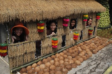 Visitors pose for a picture through a window of a house during the Pahiyas Festival in Lucban town