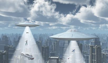 Fliegende Untertassen über einer Großstadt