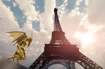 Gargoyle und Eiffelturm in Paris