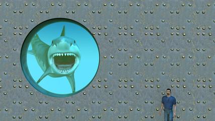 Weißer Hai hinter Bullauge