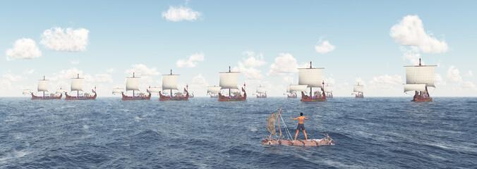 Schiffbrüchiger auf einem Floß und antike römische Kriegsschiffe