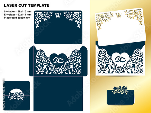 Laser Cut Design Set Of Wedding Fl Template Invitation Card Envelope And Place With Pattern Roses For Cutting Vector Ilration