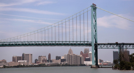 The Detroit city skyline behind the Ambassador Bridge