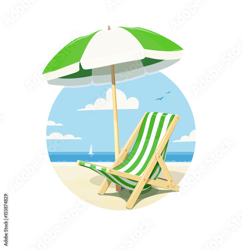 Beach chair and umbrella for summer rest, isolated white