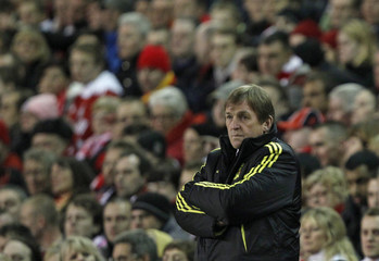 Liverpool's manager Dalglish watches his players during their Europa League last 16, second leg soccer match against Braga at Anfield