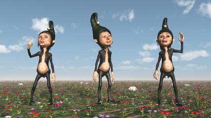 Zwerge auf einer Blumenwiese