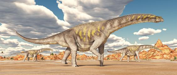 Dinosaurier Argentinosaurus in der Wüste