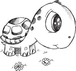 Self adhesive Wall Murals Cartoon draw Doodle Turtle Vector Illustration Art
