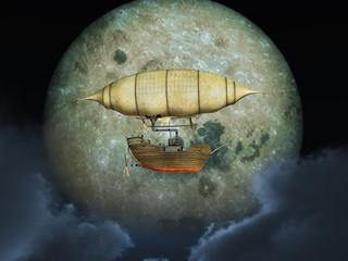 Fantasie Luftschiff vor dem Mond