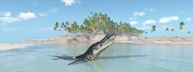 Liopleurodon attacks Rhizodus