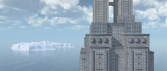 Wolkenkratzer am Meer und Eisberg