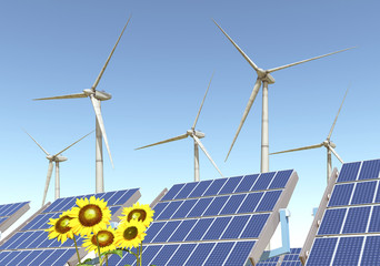 Wind turbines, solar panels and sunflowers