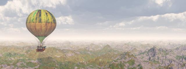 Fantasie Heißluftballon über einer Landschaft