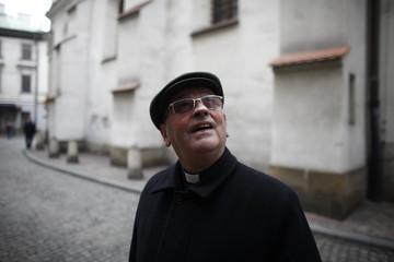Bishop Pieronek walks through the Old town of Krakow