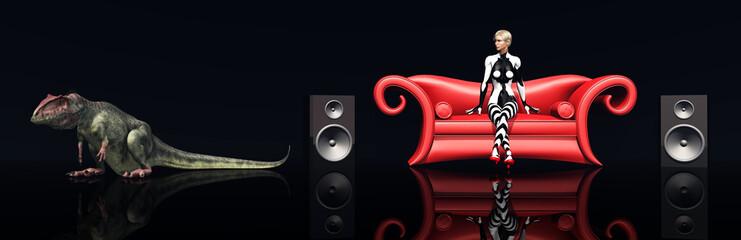Attraktive Frau auf rotem Sofa und der Dinosaurier Giganotosaurus