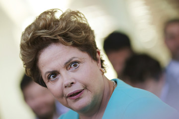 Brazil's President Dilma Rousseff reacts during a news conference at the Alvorada Palace in Brasilia