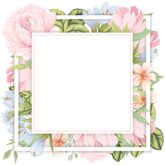 Banner design template with floral decoration. The square frame with the decor of flowers