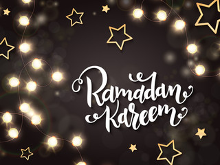 vector illustration of hand lettering greetings text - ramadan kareem with shining lights, bulbs and gold stars