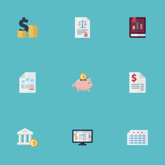 Flat Duty, Bank, Sheet And Other Vector Elements. Set Of Registration Flat Symbols Also Includes Tax, Rule, Moneybox Objects.