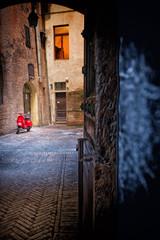 Red Motorcycle on Italian Street
