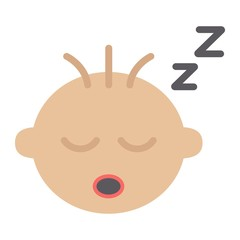Baby boy sleep flat icon, child and infant, vector graphics, a colorful solid pattern on a white background, eps 10.