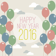 Happy New Year 2016 Vintage Style Vector Illustration