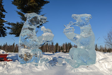 Beautiful winter ice sculpture in Fairbank