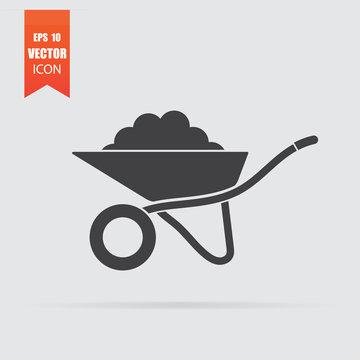 Wheelbarrow icon in flat style isolated on grey background.