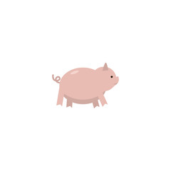 Flat Pig Element. Vector Illustration Of Flat Piggy  Isolated On Clean Background. Can Be Used As Pig, Swine And Hog Symbols.