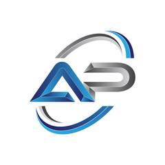 Simple initial letter logo modern swoosh AP