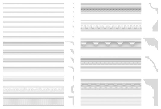 Set of cornices and friezes isolated on white background. 3D visualization of gypsum stucco. Seamless texture of classic white plinth.