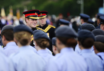 "Britain's Prince Harry chats with cadets as part of the ""Short Step"" ceremony, to mark the 100th anniversary of the outbreak of World War One (WW1), in Folkestone"