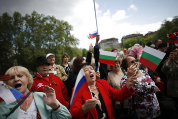 Women sing traditional Russian songs near Soviet Army Monument in central Sofia