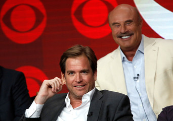 """Cast member Weatherly and executive producer McGraw attend a panel for the television series """"Bull"""" during the TCA CBS Summer Press Tour in Beverly Hills"""