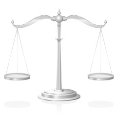 Scale - symbol for justice, jurisdiction, balance and fairness - isolated vector illustration on white background.