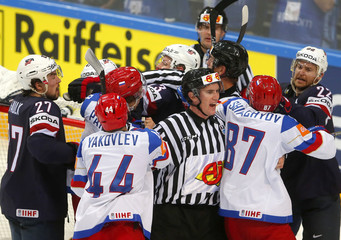 Russia's Panarin scuffles with US players during their Ice Hockey World Championship semifinal game in Prague