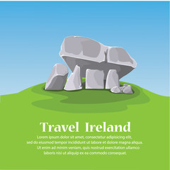 travel ireland. Brownshill Dolmen. vector illustration