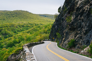 Storm King Highway along the Hudson River, in Cornwall-On-Hudson, New York.