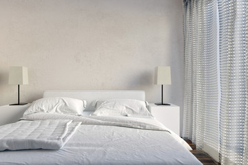 Neat modern white bedroom interior