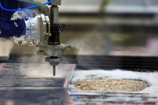 CNC water jet cutting machine process
